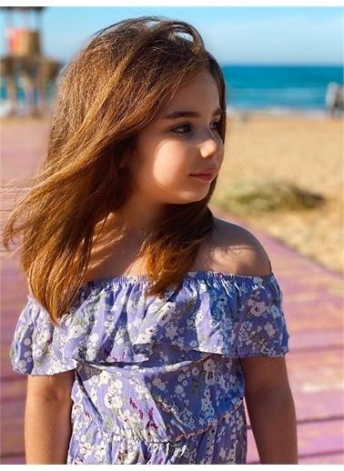 Hilal Akıncı Kids Kiz Çocuk Düşük Omuz Çıçeklı Büzgülü Elbıse Lila